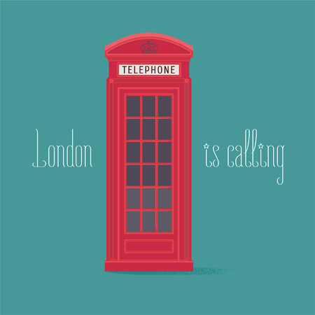 phonebox: England, London red phone booth vector illustration with quote. Image of phone box can be used as poster, clipart Illustration