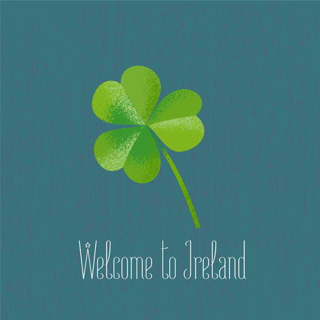 patrick: Clover leaf for travel to Irelan vector illustration. Design element, clipart with Welcome to Ireland phrase