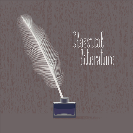 classic classical: Classic, classical literature vector illustration with bird feather and ink