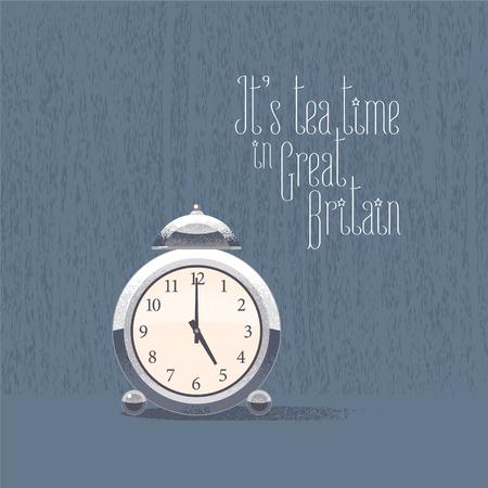 five o'clock: 5 oclock for tea time vector illustration. British traditional five oclock concept design Illustration