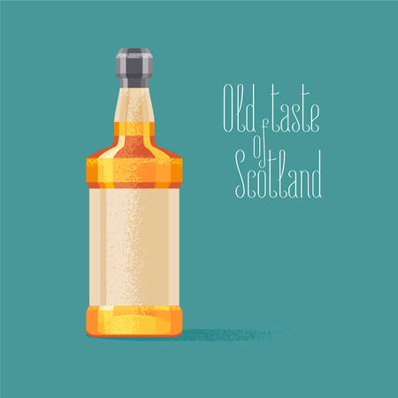 scotch: Whiskey bottle vector illustration. Concept design for travel to Scotland with traditional alcohol drink whiskey Illustration