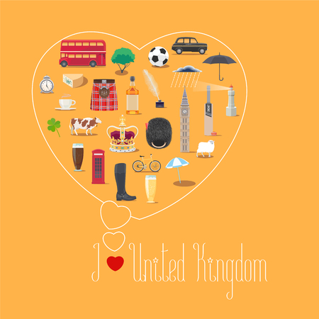 o'clock: Heart shape illustration with I love United Kingdom quote. British landmarks, food, art vector icons. Travel to UK, Great Britain concept banner Illustration
