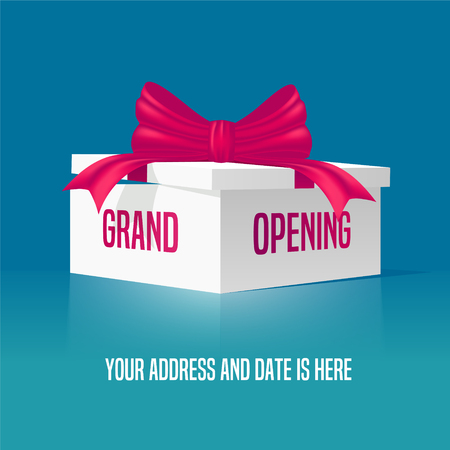 beginnings: Grand opening vector illustration, background with gift box and red ribbon. Template banner, design element for opening event