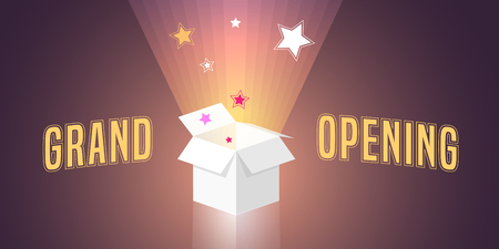 Grand opening vector illustration, background with open gift box and swirl. Template banner, design element for opening ceremony