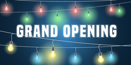 Grand opening vector banner with festive lights. Template design element for opening ceremony can be used as background or poster Illustration