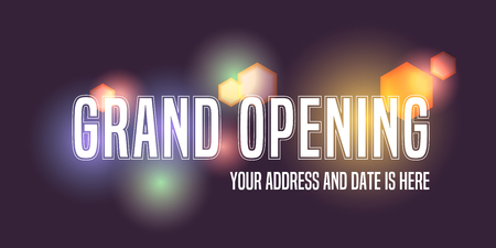 Grand opening vector banner, illustration. Template design element with letters and fireworks for new store opening ceremony