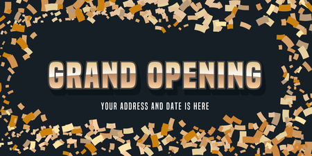Grand opening vector banner. Template festive design element for opening ceremony with golden color swirl can be used as background or poster
