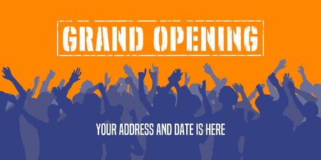 beginnings: Grand opening vector background. Crowd of people dancing design element for poster or banner for opening event
