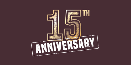 15 years anniversary vector icon, logo. Graphic design element with golden stamp for 15th anniversary decoration
