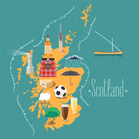 scotch: Map of Scotland vector illustration, design element. Icons with Scottish landmarks, famous cultural objects, whiskey, football Illustration