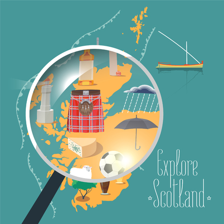 Map of Scotland vector illustration, design element. Icons with Scottish landmarks, famous cultural objects, whiskey Illustration