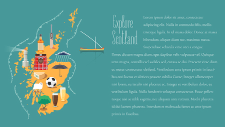 Map of Scotland in article template vector illustration, design element. Icons with Scottish landmarks, famous cultural objects, whiskey
