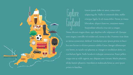 Map of England, Britain in article template vector illustration, design. Icons with British, English landmarks Illustration