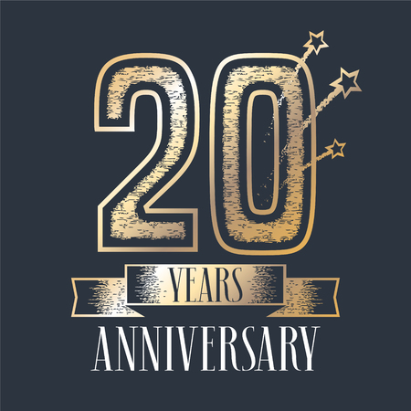 20th: 20 years anniversary vector icon, logo. Graphic design element with ribbon and golden color and grunge texture number for 20th anniversary ceremony