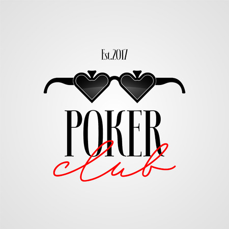 Poker club, casino vector logo, symbol. Template design with cards suits for poker gambling