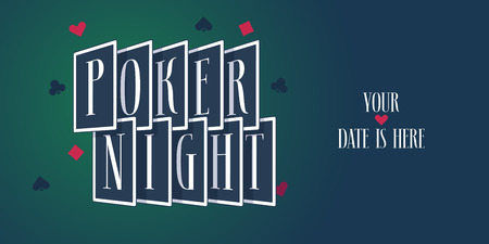 Poker night vector logo, icon. Template design element with playing cards for poker sport tournament Stock Illustratie