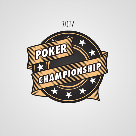 chances are: Poker, casino vector logo, emblem. Design element with casino chips and sign Poker championship Illustration