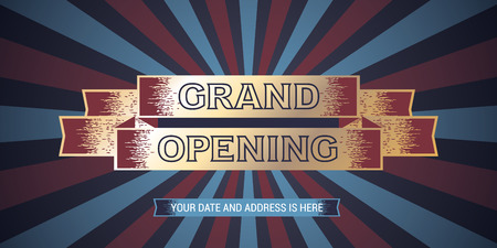 Grand opening vector illustration, background with retro style design. Template banner for opening event