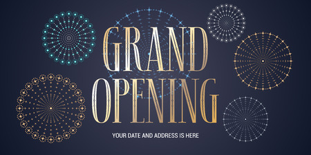 beginnings: Grand opening vector background. Fireworks display design element for poster or banner for opening ceremony Illustration