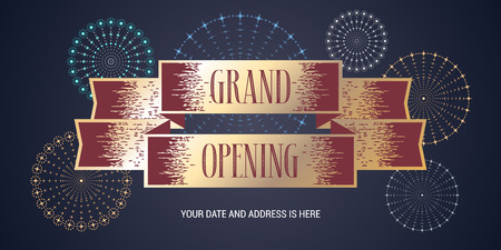 Grand opening vector banner. Template festive design element with fireworks for opening ceremony can be used as background or poster
