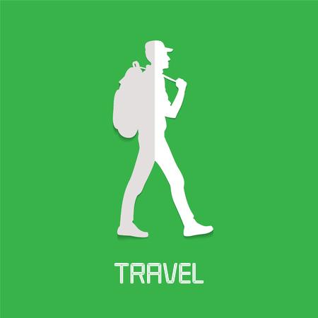 Trekking, hiking concept vector illustration, logo. Design element with trekker, backpacker for active traveling and travel service Illustration