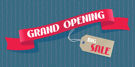 Grand opening vector background. Sale label design element with red ribbon for poster or banner for opening ceremony Stock Illustratie