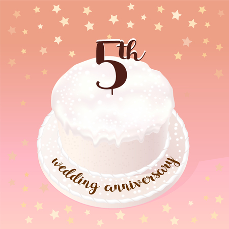5 years of wedding or marriage vector icon, illustration. Design element with celebration cake for 5th wedding anniversary
