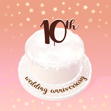 memory card: 10 years of wedding or marriage vector icon, illustration. Design element with celebration cake for 10th wedding anniversary Illustration