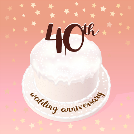 40 years of wedding or marriage vector icon, illustration. Design element with celebration cake for 40th wedding anniversary