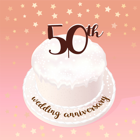 50 years of wedding or marriage vector icon, illustration. Design element with celebration cake for 50th wedding anniversary