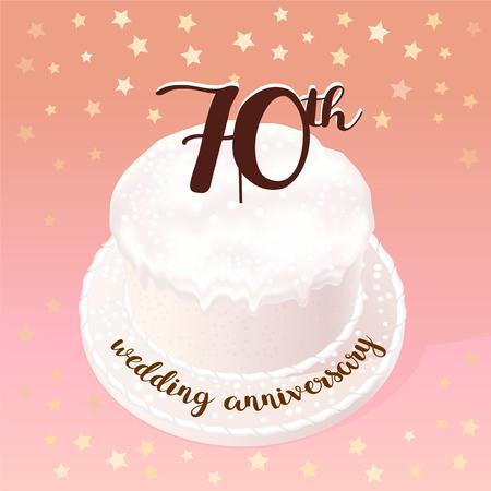 결혼식이나 결혼의 벡터 일러스트 레이 션 70 년 벡터 일러스트 레이 션. 70 번째 결혼 기념일 축하 케이크와 함께 디자인 요소 일러스트