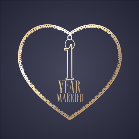 1 year anniversary of being married vector icon, logo. Graphic design element with golden color heart for decoration for 1st anniversary wedding