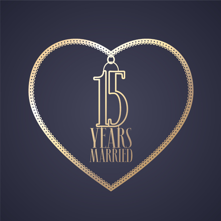 15 years anniversary of being married vector icon, logo. Graphic design element with golden color heart for decoration for 15th anniversary wedding