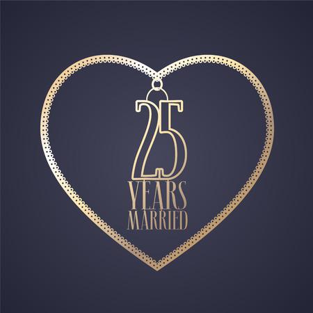 25 años de aniversario de ser casado vector icono, logotipo. Elemento de diseño gráfico con corazón de color dorado para la decoración de la boda del 25 aniversario