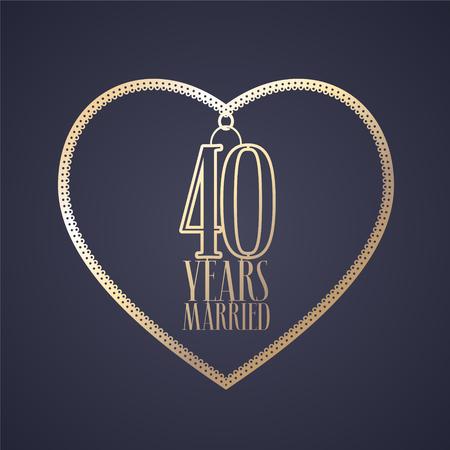 40 jaar jubileum van getrouwd zijn vector pictogram, logo. Grafisch ontwerpelement met gouden kleurenhart voor decoratie voor 40ste verjaardagshuwelijk