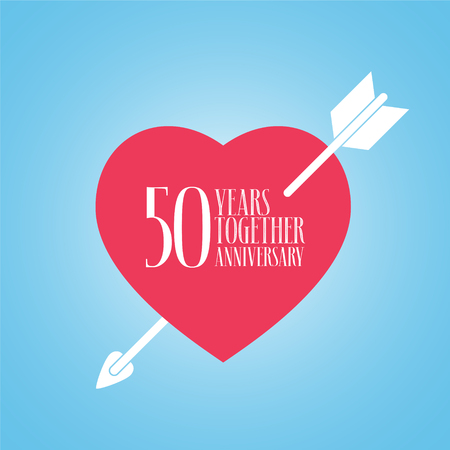 A template design element with heart and arrow for celebration of 50th wedding. Illustration
