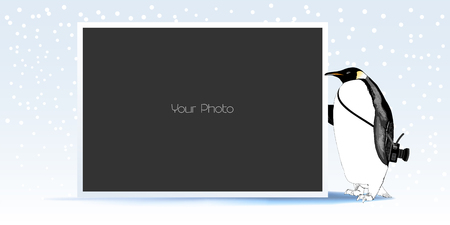 Photo frame collage for winter or New Year vector illustration. Cute penguin design element and photo frame template