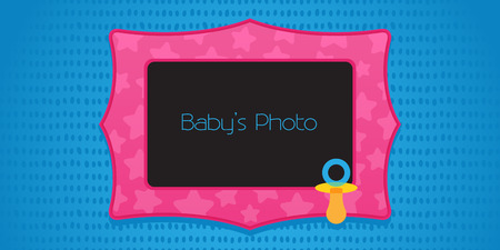 babys dummies: Kids photo frame collage vector illustration. Bright background and frame with pacifier design element for collage of your baby photos