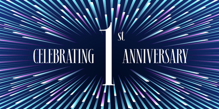 1 years anniversary vector icon, banner. Graphic design element or logo with abstract background for 1st anniversary Illustration