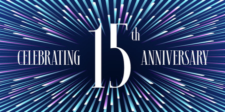 15 years anniversary vector icon, banner. Graphic design element or logo with abstract background for 15th anniversary Illustration
