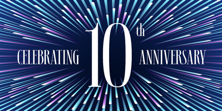 tenth: 10 years anniversary vector icon, banner. Graphic design element or logo with abstract background for 10th anniversary
