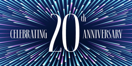 20 years anniversary vector icon, banner. Graphic design element or logo with abstract background for 20th anniversary