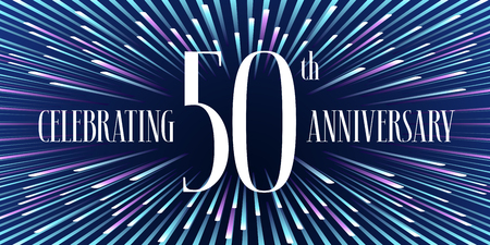 50 years anniversary vector icon, banner. Graphic design element or logo with abstract background for 50th anniversary