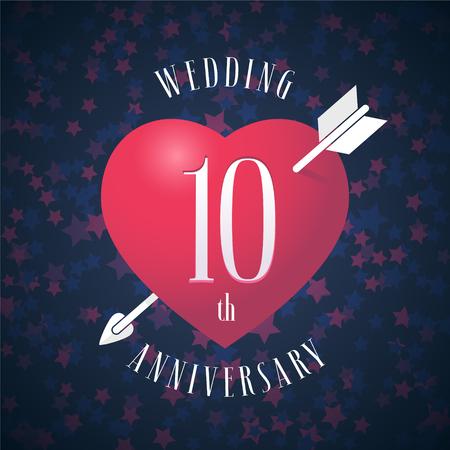 10 jaar jubileum van getrouwd zijn vector pictogram, logo. Grafisch ontwerpelement met rode kleurenhart en pijl voor decoratie voor 10de verjaardagshuwelijk Stock Illustratie