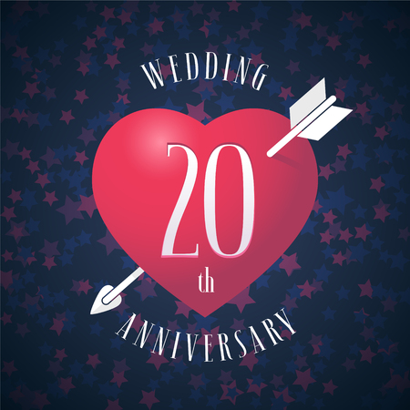 20 years anniversary of being married vector icon, logo. Graphic design element with red color heart and arrow for decoration for 20th anniversary wedding Illustration