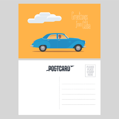 latina: Postcard from Cuba with classic american car vector illustration. Greeting card with template text box sent from Cuba with vintage automobile.