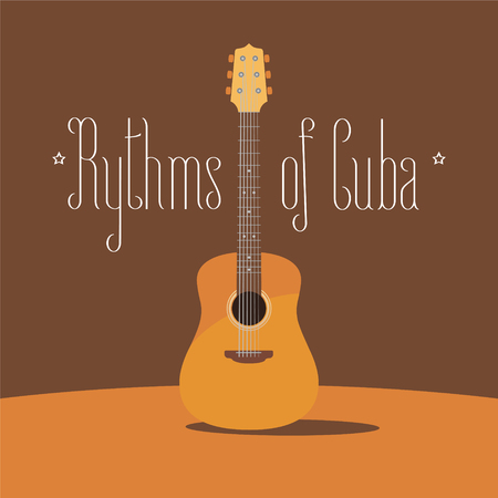 Cuban acoustic guitar vector illustration. Travel to Cuba design element with traditional music instrument.