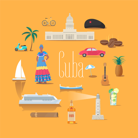 caribbean cruise: Set of icons with Cuban landmarks in vector. Mojito, cocktail, buildings, communism star symbols for visit Cuba collection.