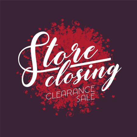 Store closing sale vector illustration, design. Template banner, flyer for clearance sale Illustration