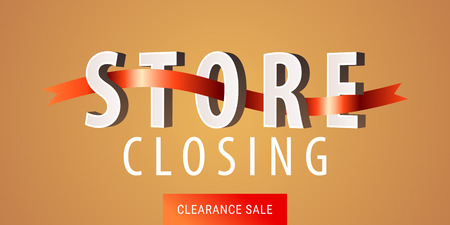 Store closing sale vector illustration, background. Template nonstandard banner, flyer for store closing clearance